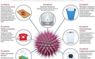 Инфографика о том, какие предметы в доме самые грязные
