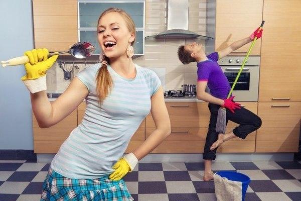Уборка кухни под музыку