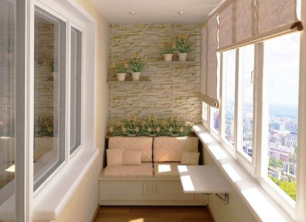 Отличный интерьер балкона