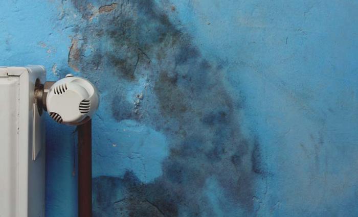 Необычная влажность на стене около батареи