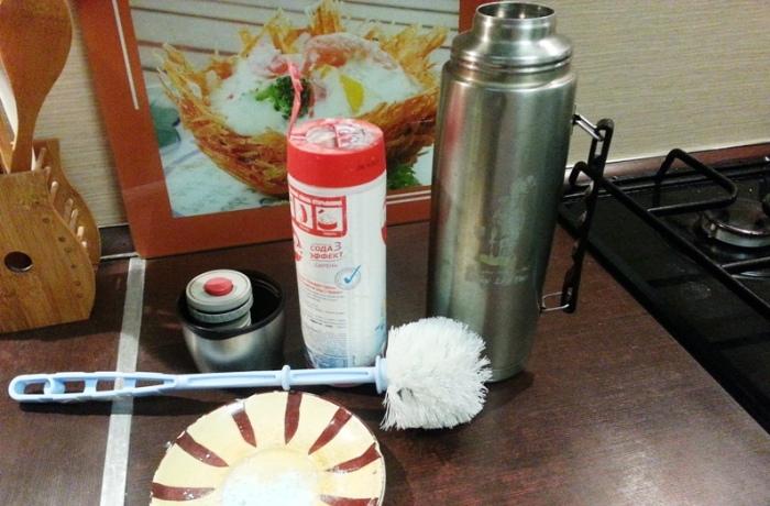 Подготовка к мытью колбы термоса
