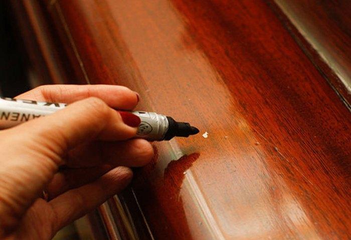 Маскировка проблемных мест при помощи мебельного маркера