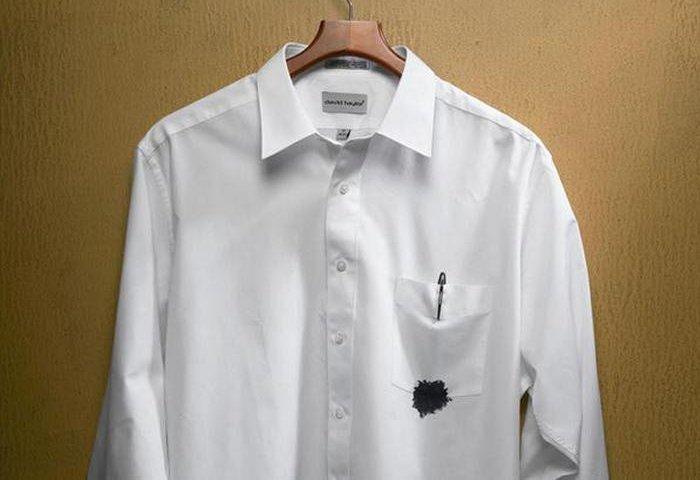 Пятно на белой рубашке вывести в домашних фото