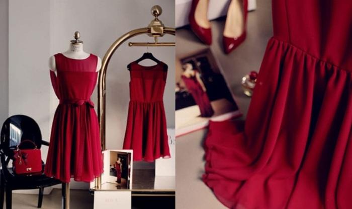 Изящное вечернее платье насыщенного цвета