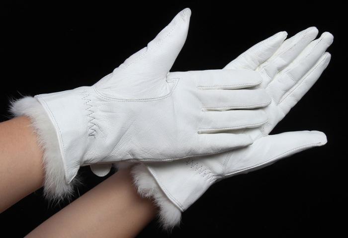 Женские белые кожаные перчатки