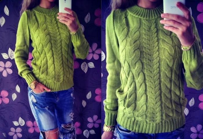 Теплый зеленый свитер