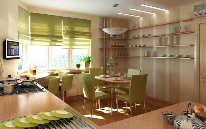 Зеленые римские шторы на кухне