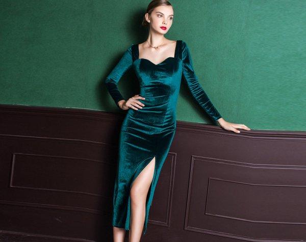 Оригинальное зеленое платье