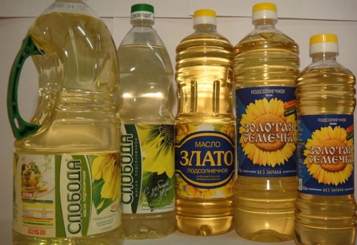 Ассортимент подсолнечного масла