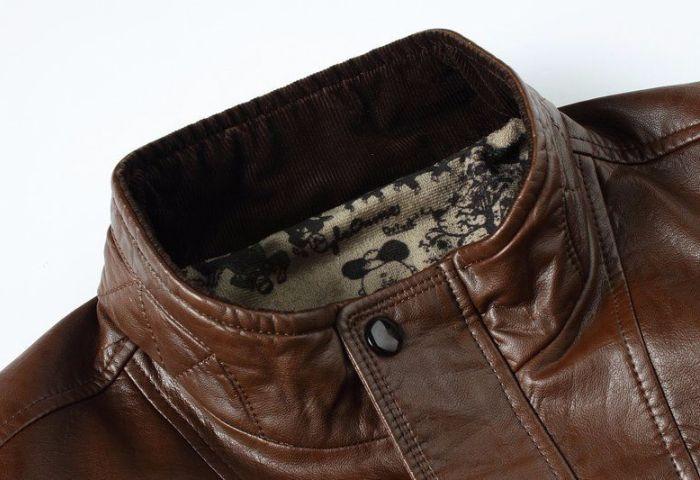 Куртка коричневого цвета из кожзама