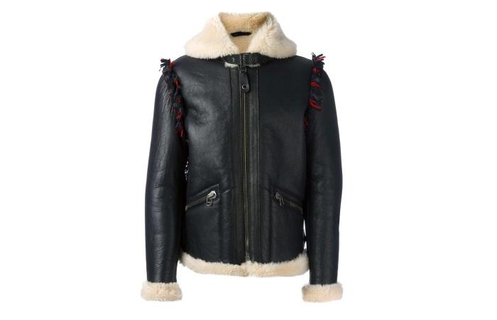Кожаная куртка на овчине для мужчины