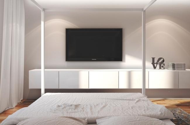 Оптимальное место для телевизора в спальне